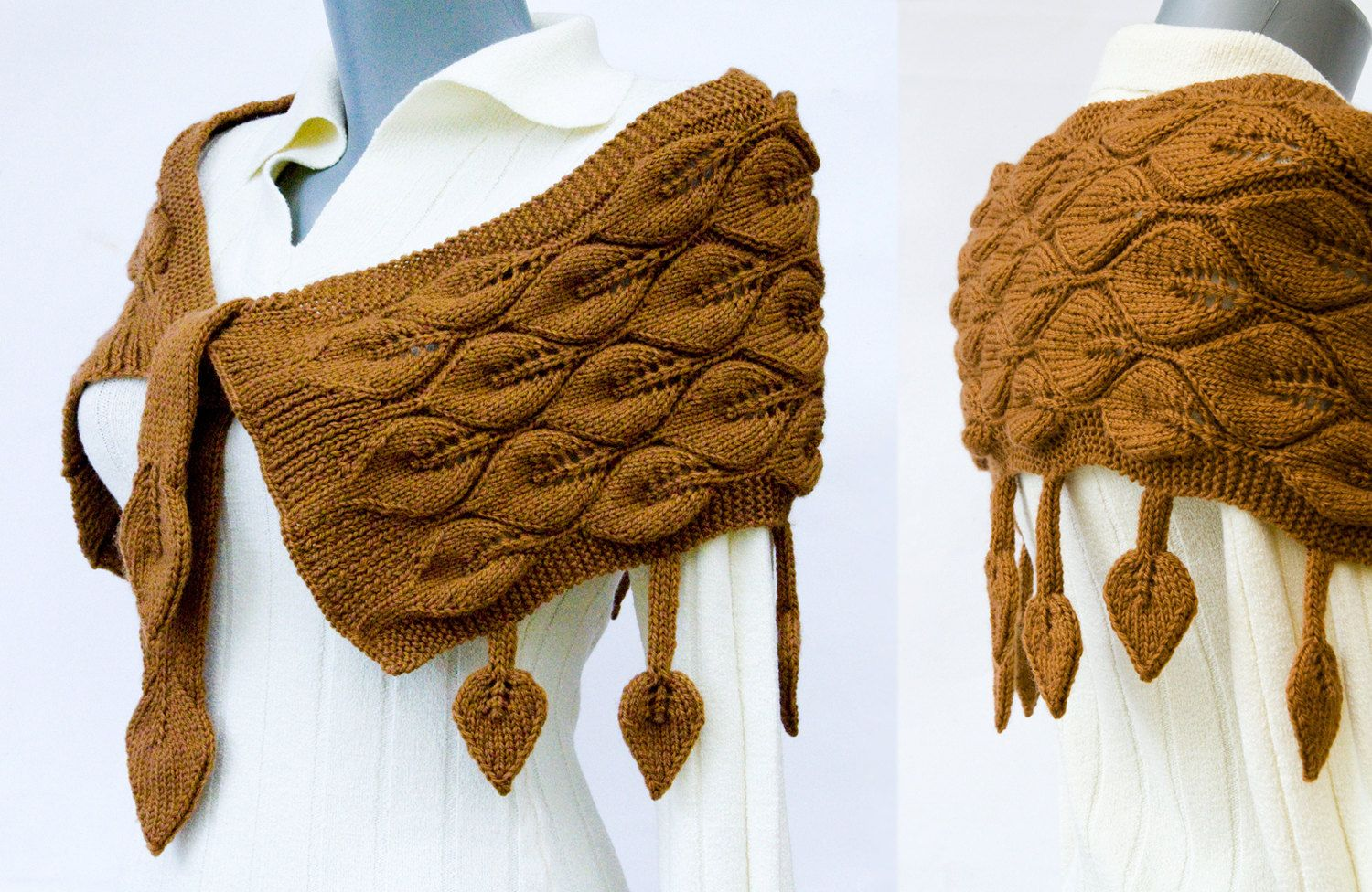 Brown knitted shoulder wrap with leaf pattern and dangling leaves ...