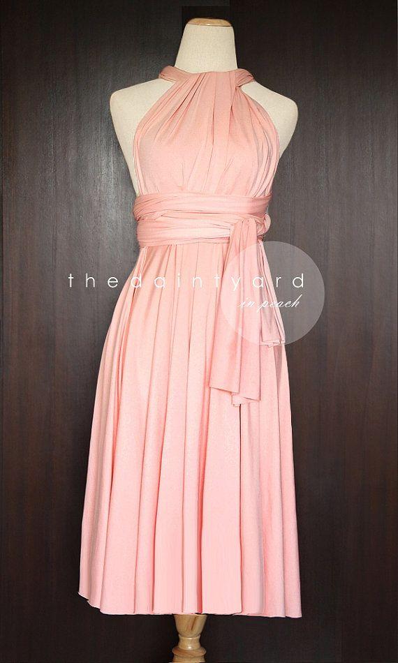 Kurzer gerader Saum Pfirsich Infinity Kleid von thedaintyard ...