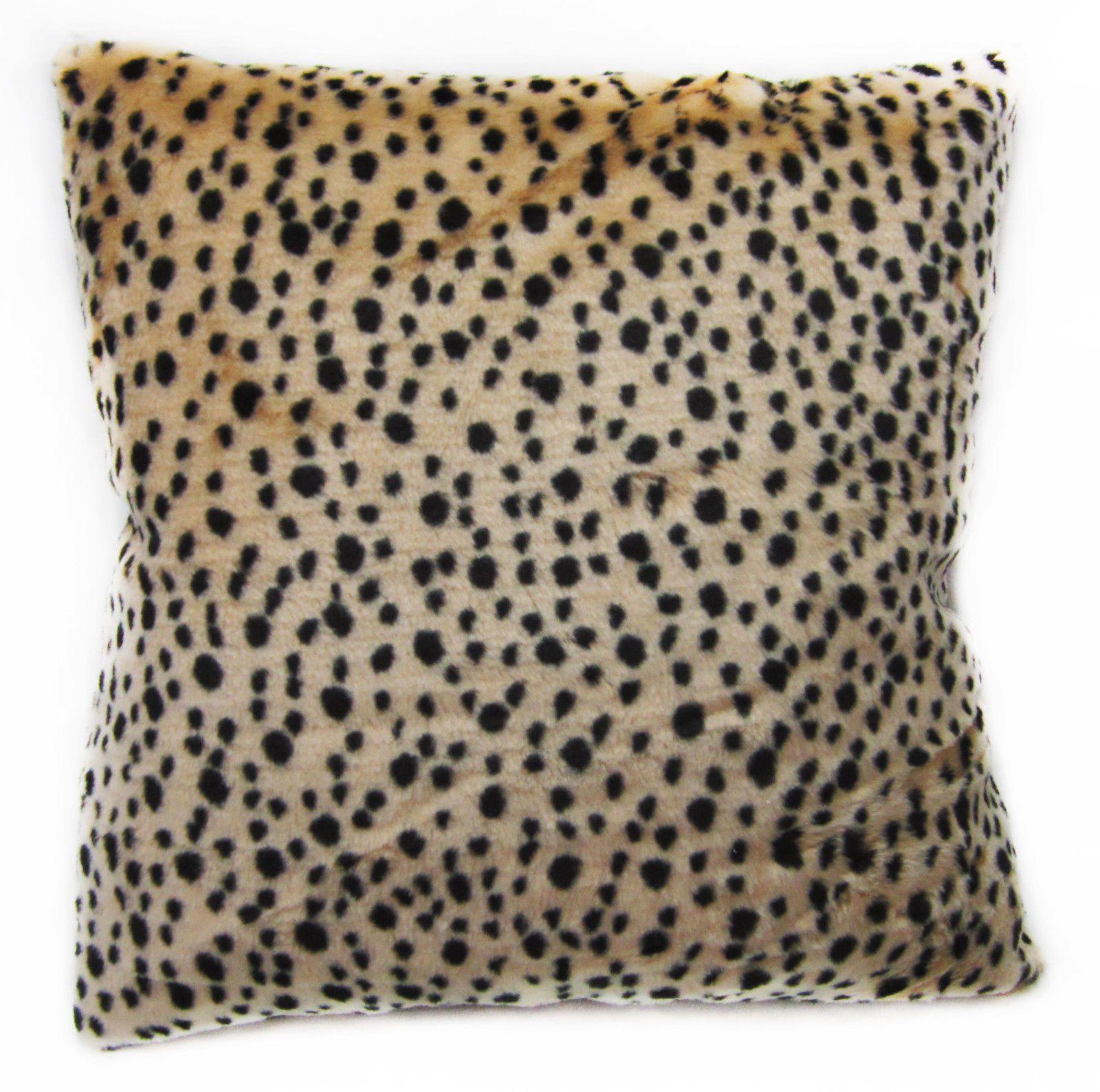 Fi18a Light Peach Black Leopard Pattern Faux Fur Cushion Cover ...
