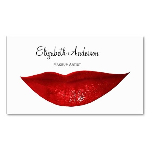 Modern Cosmetology Makeup Artist With Red Lips Business Card