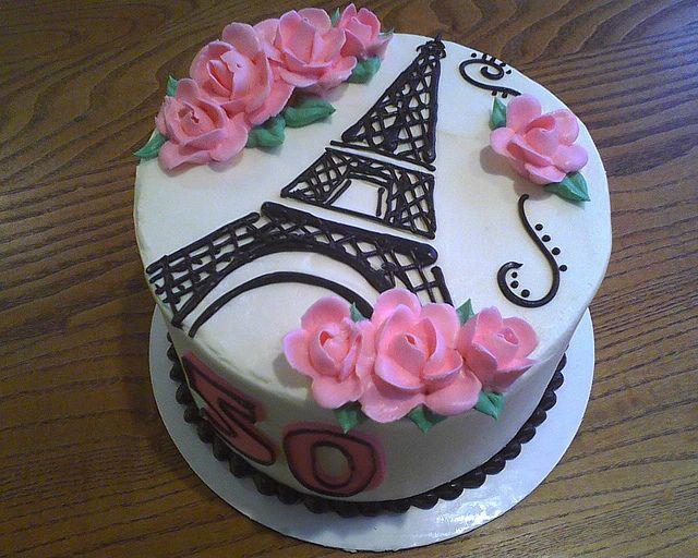 Fine Eiffel Tower Birthday Cake With Images Paris Cakes Eiffel Funny Birthday Cards Online Aeocydamsfinfo