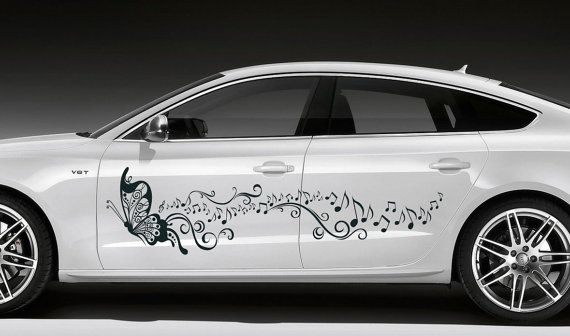 Car vinyl graphics sticker cute butterfly witn music by tmarysyuk 69 99