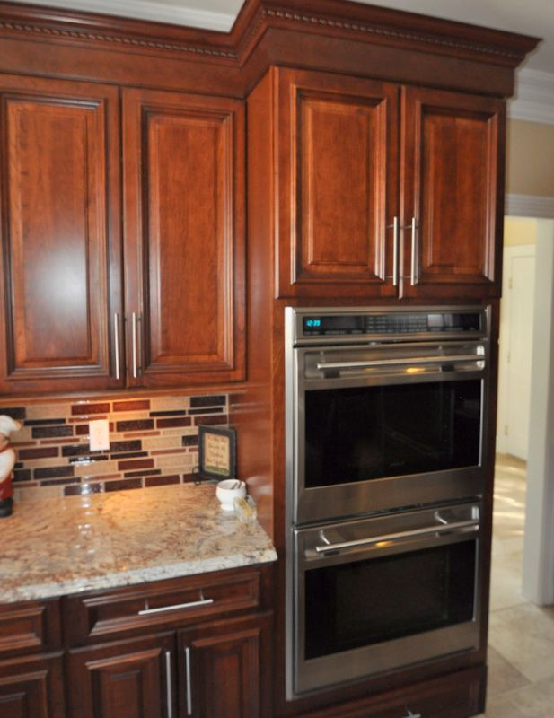Double Wall Ovens Love the tile | Kitchen remodel ...