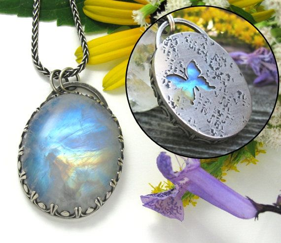 Large Rainbow Moonstone Necklace - Sterling Silver Rainbow Moonstone pendant with butterfly - large oval rainbow moonstone necklace