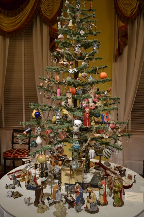 Victorian Ornaments on Feather Tree with creche beneath
