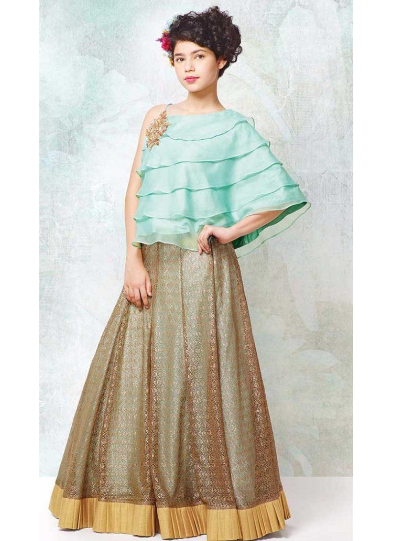Sky blue color georgette indo western style girls gown dress