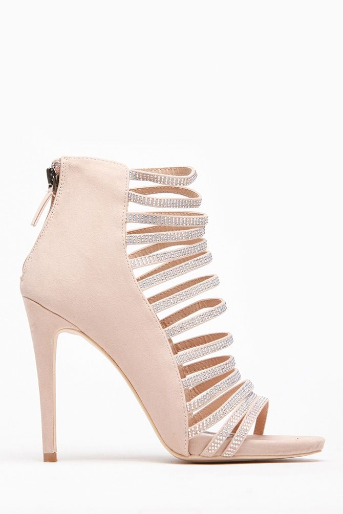 2a4b141ed06 Anne Michelle Nude Rhinestone Strappy Heels   Strappy Heels