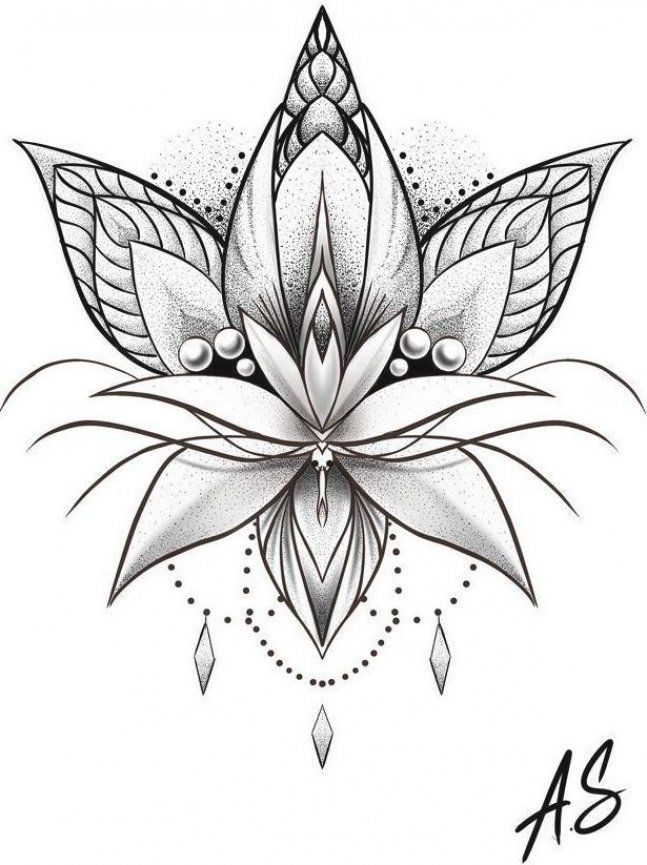 Mandala Dotwork Lotus Artwork by Adison #Tattoos #Tattoosquotes #flowerTattoos #