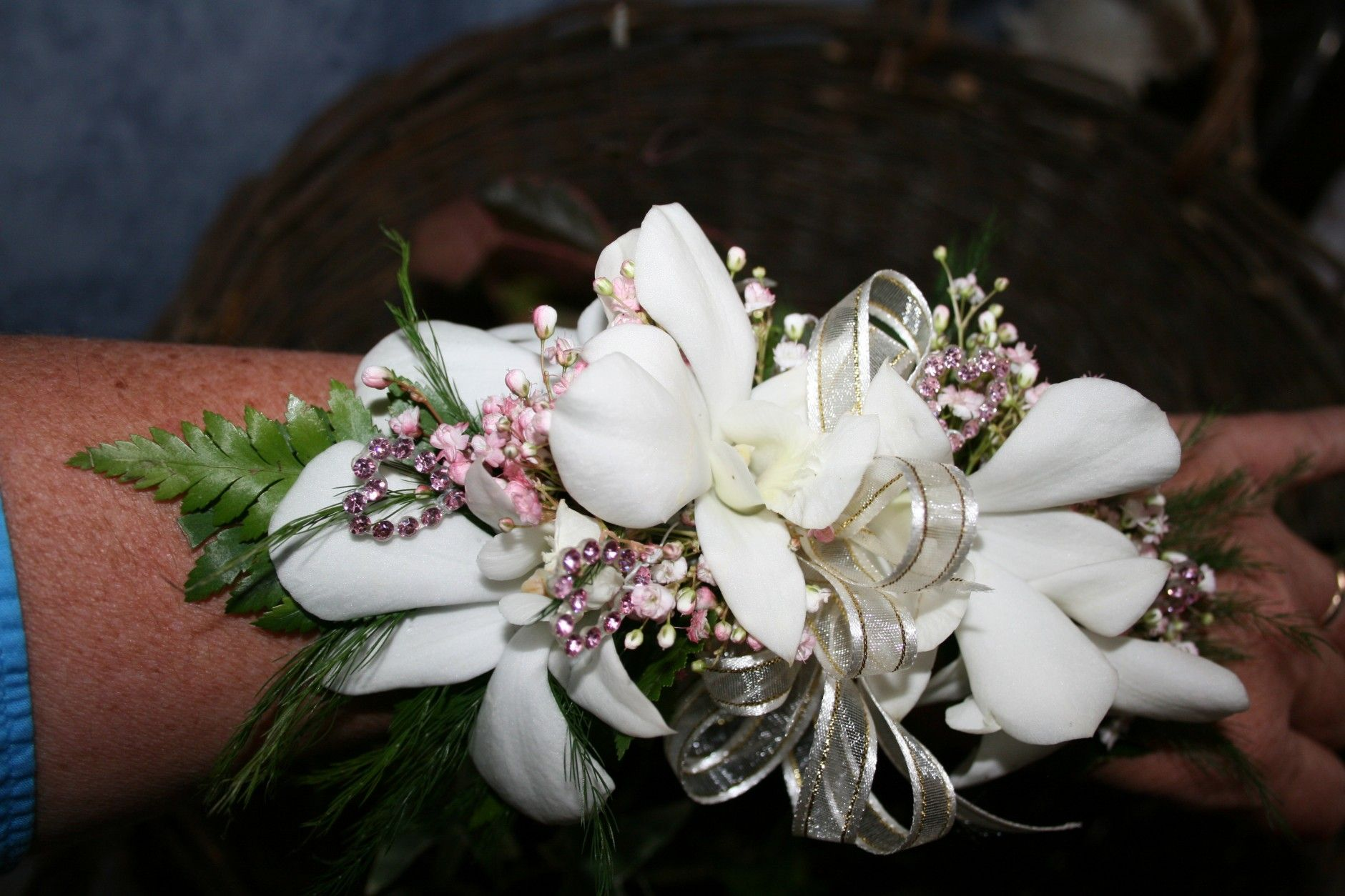 orchid boutonniere | WHITE ORCHID CORSAGE PINK BLING ...