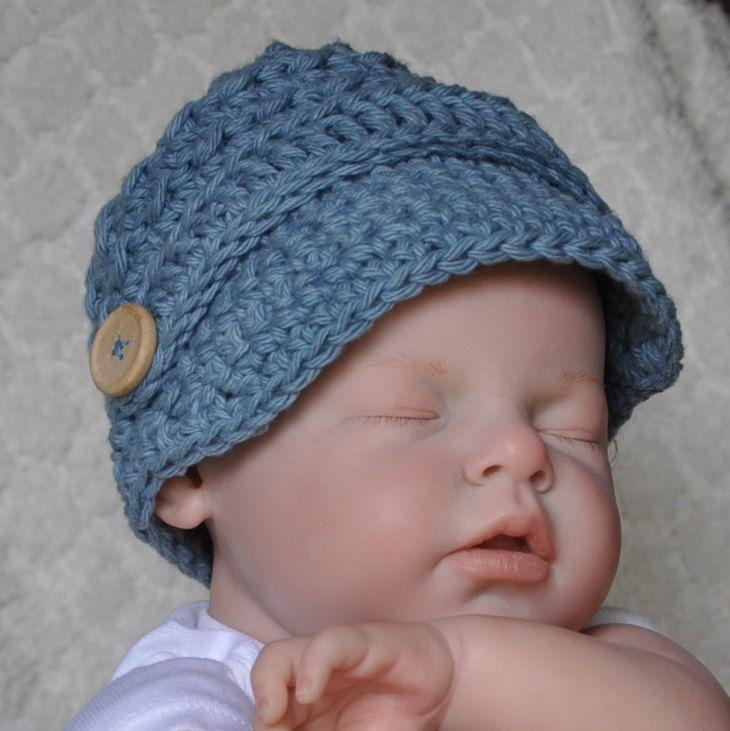 Cotton Baby Hat News Boy Hat in size 0 to 6 months | Crochet Beanie ...