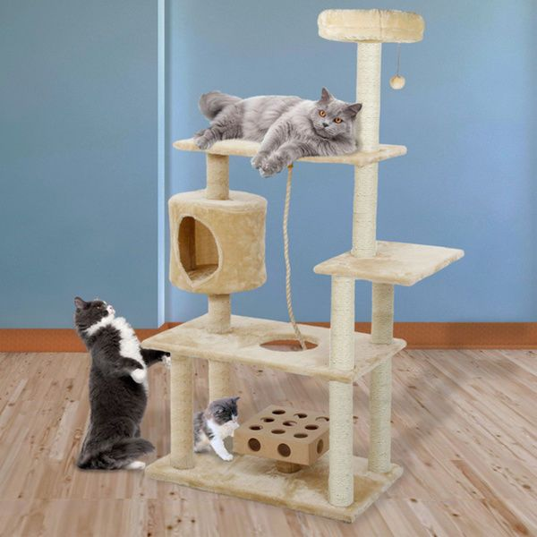 Cat Towers And Condos Deluxe Playground With Cats Iq Rope Scratching Posts New Cat Tree House Cat Furniture Cat Tree Condo