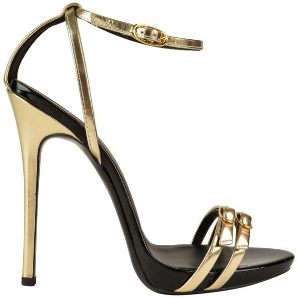 GIUSEPPE ZANOTTI Metallic Double Buckle Heeled Sandals (14 615 UAH) ❤ liked on Polyvore featuring shoes, sandals, heels, high heel shoes, ankle strap high heel sandals, heels stilettos, double buckle sandals and high heel sandals