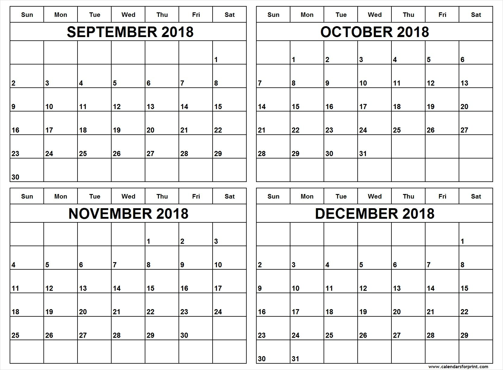 Print Blank September To December 2018 Calendar Templates Free Download One Month Two Three Four And Six