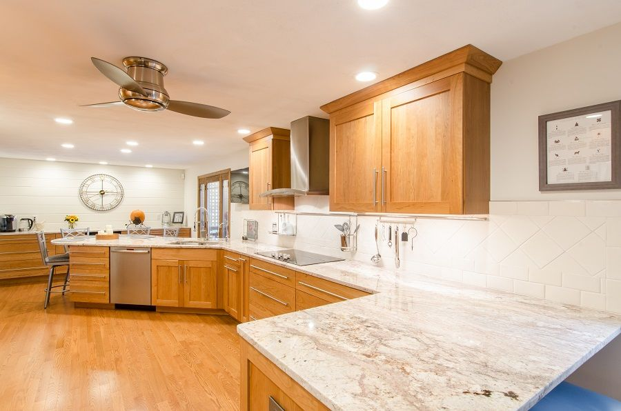 Cherry Wood Kitchen Cabinets, Natural Wood Kitchen Cabinets With White Countertops