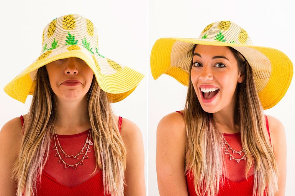 4 Style Hacks To Update An Old Beach Hat Beach Hat Beach Hats Outfit Diy Floppy Hat