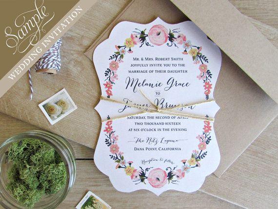 SAMPLE Floral Botanical Ornate Die Cut Wedding Invitation   Paper - sample general color chart