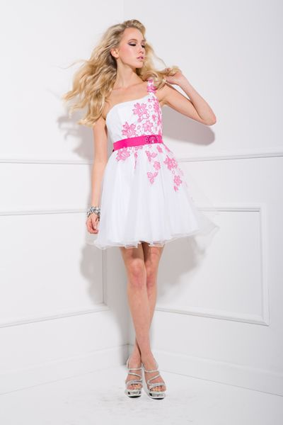 Short Lace One Shoulder Prom Dress In Pink/White, Available in ...