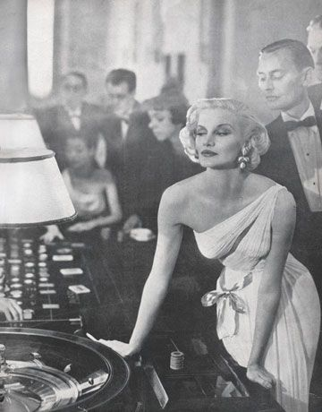 Avedon's 1954 picture of Harnett wearing a Grès gown at a casino was jet-set…