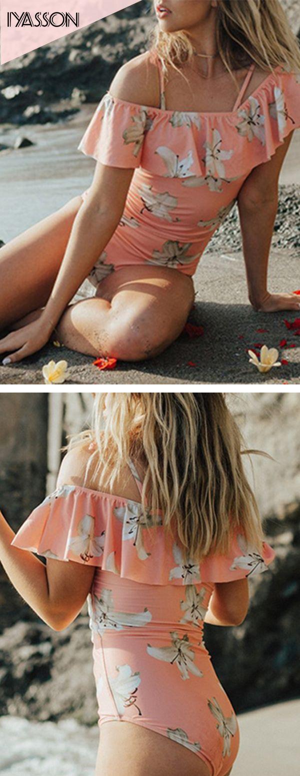 Floral Print Falbala One-piece Swimsuit