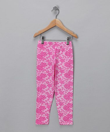 #fall #zulily  Take a look at this Pink Lace Luxxe Leggings - Infant, Toddler & Girls by Flap Happy Girls on #zulily today!