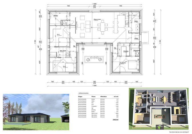 Maison U 130 m² Plan Maison Pinterest House - plan maison en u ouvert