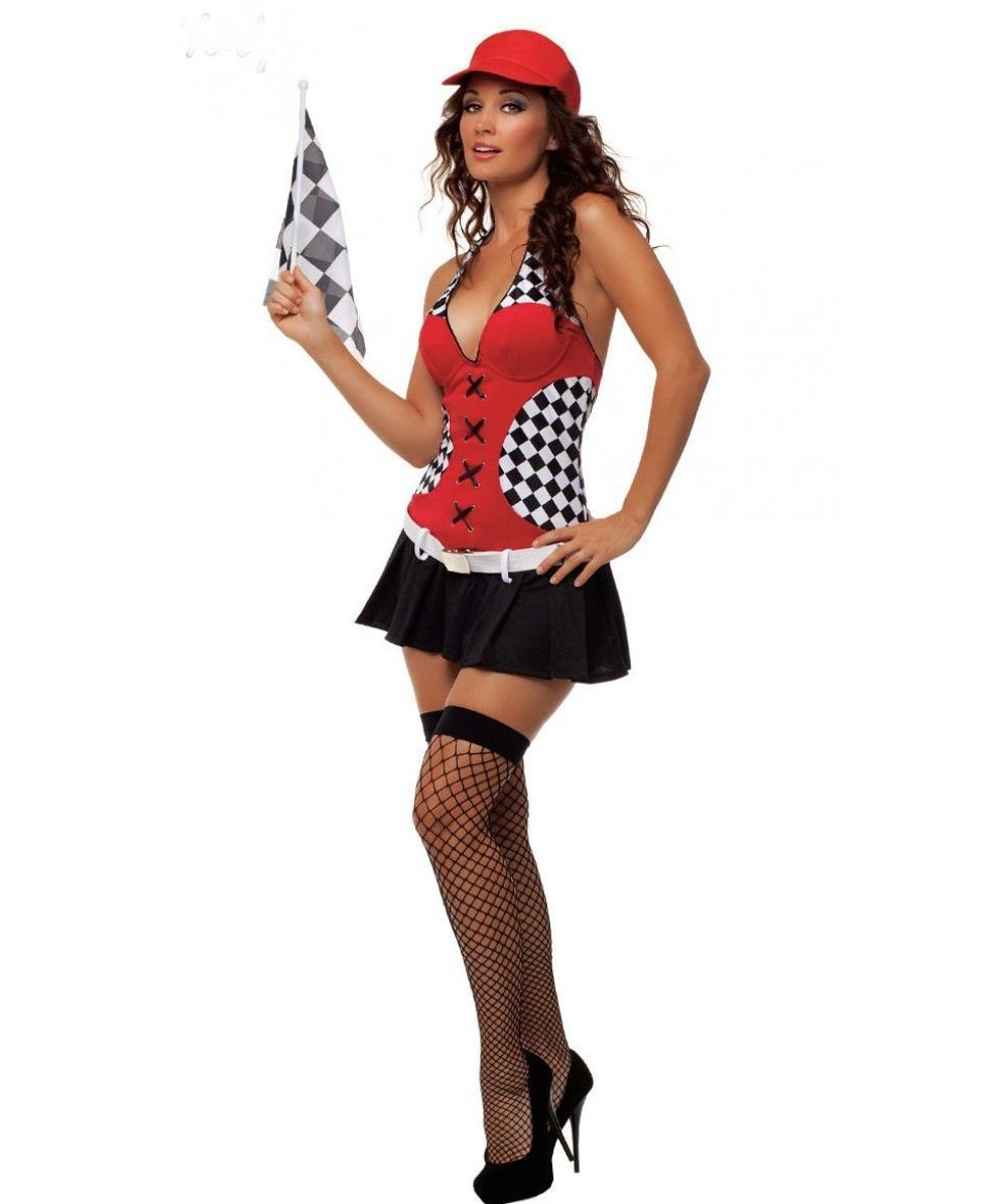 Ladies Sexy Pit Girl Racing Driver Outfit Fancy Dress Halloween ...