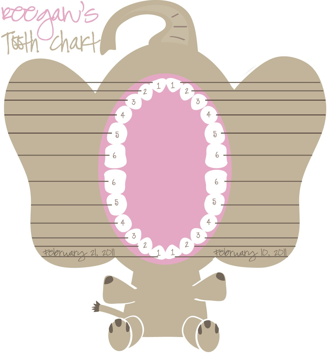 Baby Teeth Chart | ... her grow xo rache february 10th 1st tooth ...