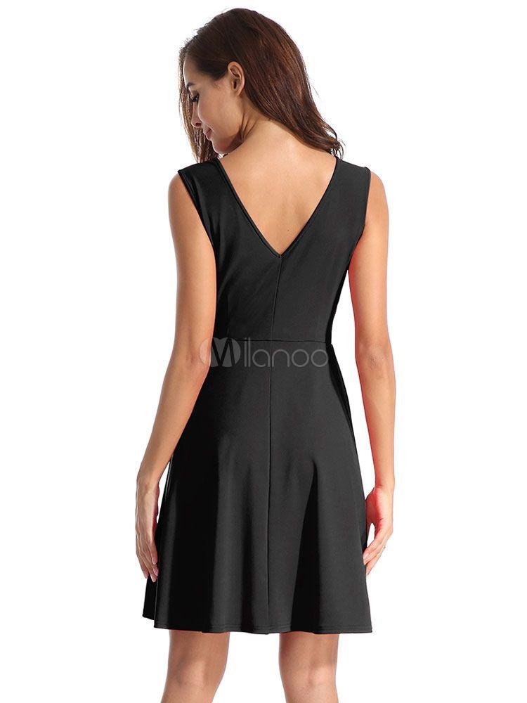 24c66fc1e43 Women Skater Dress V Neck Party Dress Sleeveless Flared Dress  Dress ...