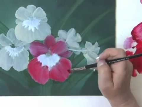 Acrylic e painting pattern orchids one of passions for Painting flowers in acrylic step by step