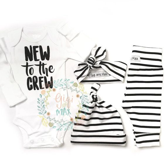30f5c38de Newborn Baby Gender Neutral New to the Crew coming home outfit Black ...