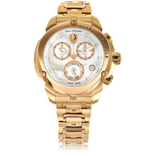 Tonino Lamborghini Designer Women's Watches Shield Lady Rose Gold Tone... (£1,220) ❤ liked on Polyvore featuring jewelry, watches, chrono watch, stainless steel wrist watch, engraved jewelry, quartz movement watches and polish jewelry