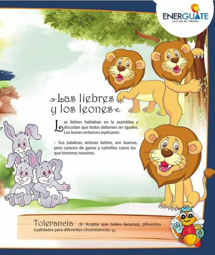 Las Liebres Y Los Leones Tolerancia Fabulas Para Ninos Imagenes De Cuentos Infantiles Cuentos Cortos Para Imprimir