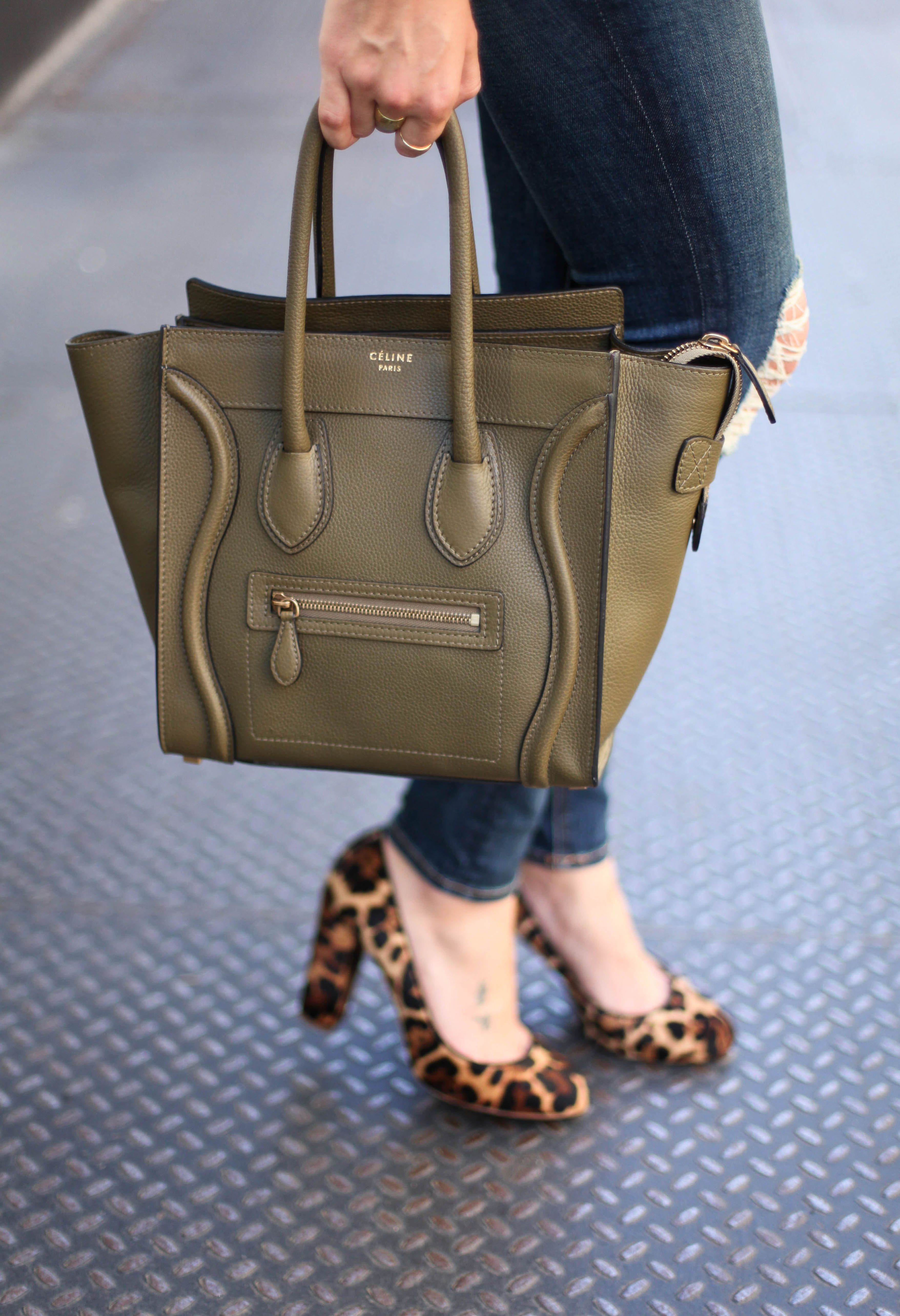 6b26eba766 Celine Mini Luggage in Jungle - buy this beautiful pre-owned designer bag  at an amazing reduced price! Click here.