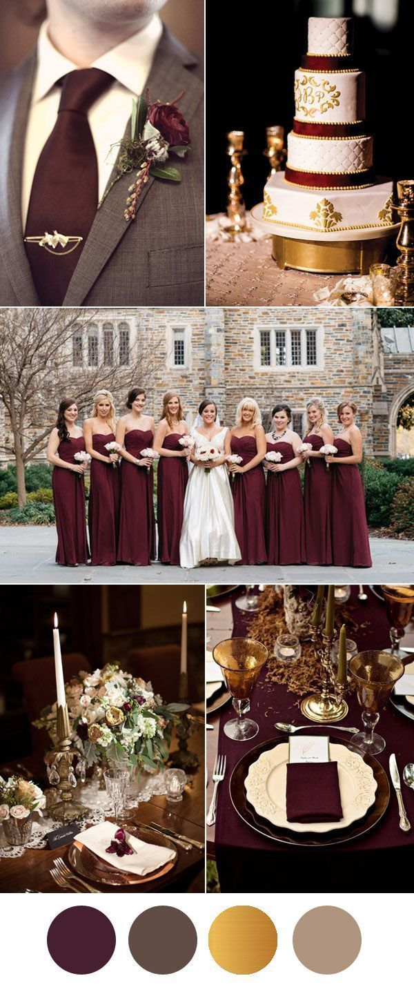 Vintage Burgundy Brown And Gold Wedding Inspiration This Color Scheme Would Be Perfect For A Fall Or Winter