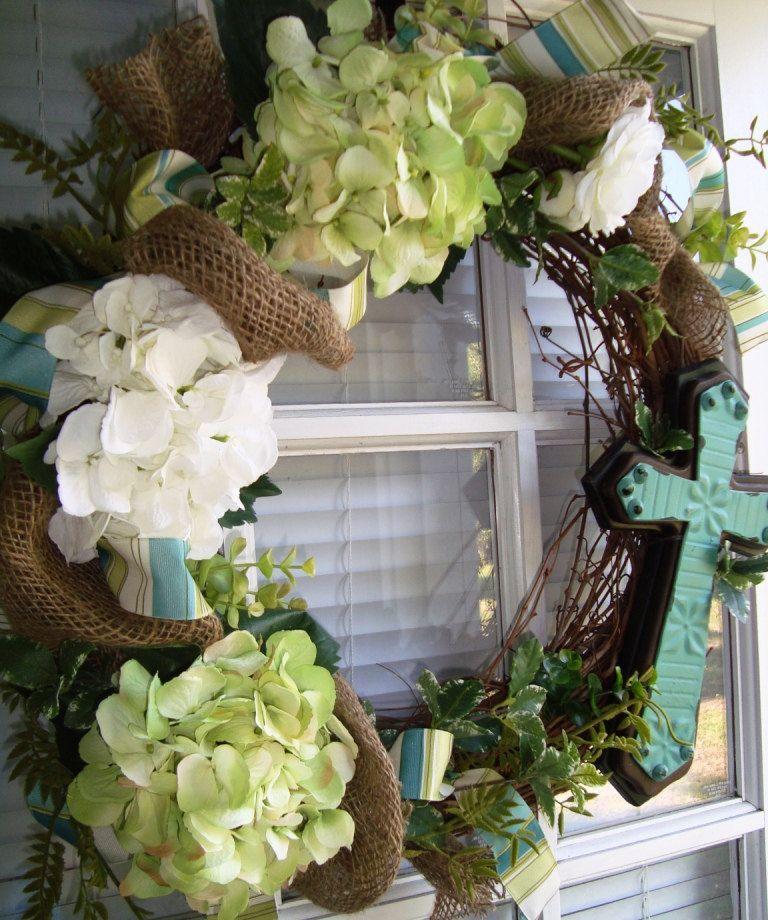 Easter Hydrangea Wreath with Cross