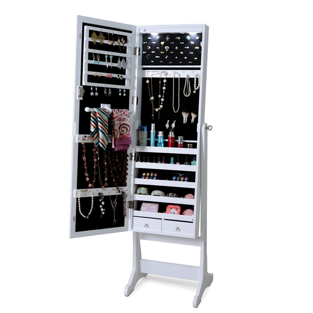 Lockable Bedroom Furniture Lockable Mirrored Jewelry Cabinet With Stand And Led Lights