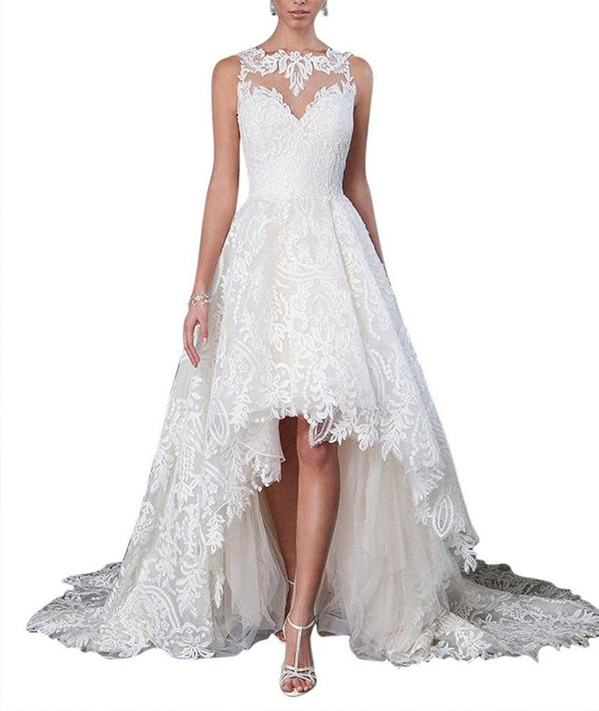 Yxjdress hilow lace wedding dresses beah wedding dress long bride