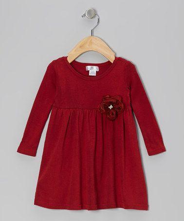 Look what I found on #zulily! Ruby Red Gem Flower Dress - Infant by Truffles Ruffles #zulilyfinds