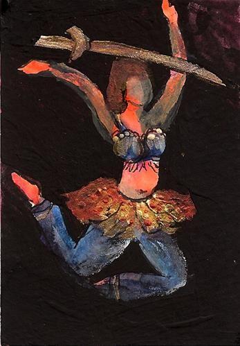 Aceo Bellydancer No 15 Mixed Media Middle Eastern Dancer