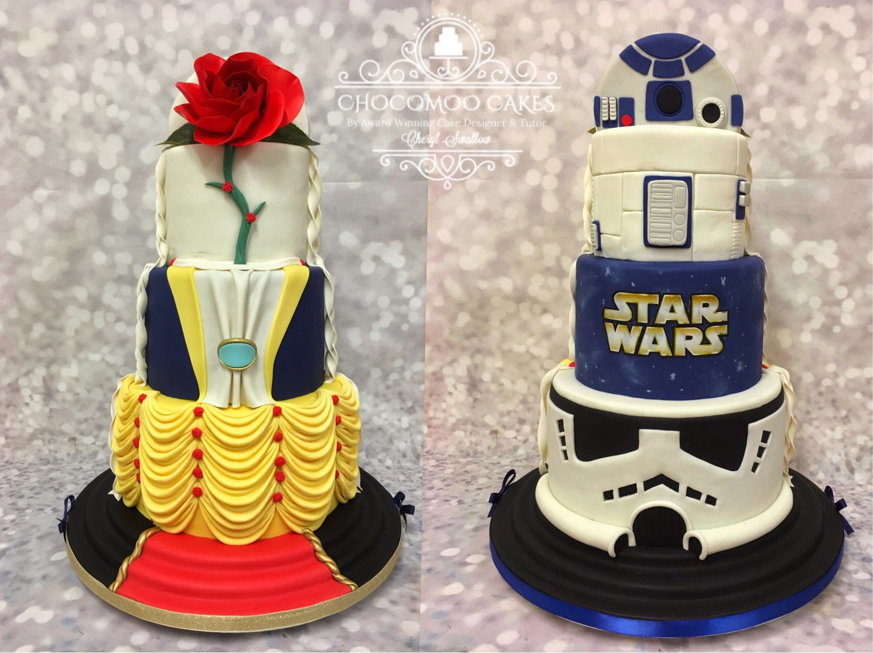 Half Star Wars Half Beauty And The Beast Wedding Cake Beauty And The Beast Wedding Cake Star Wars Wedding Cake Creative Desserts