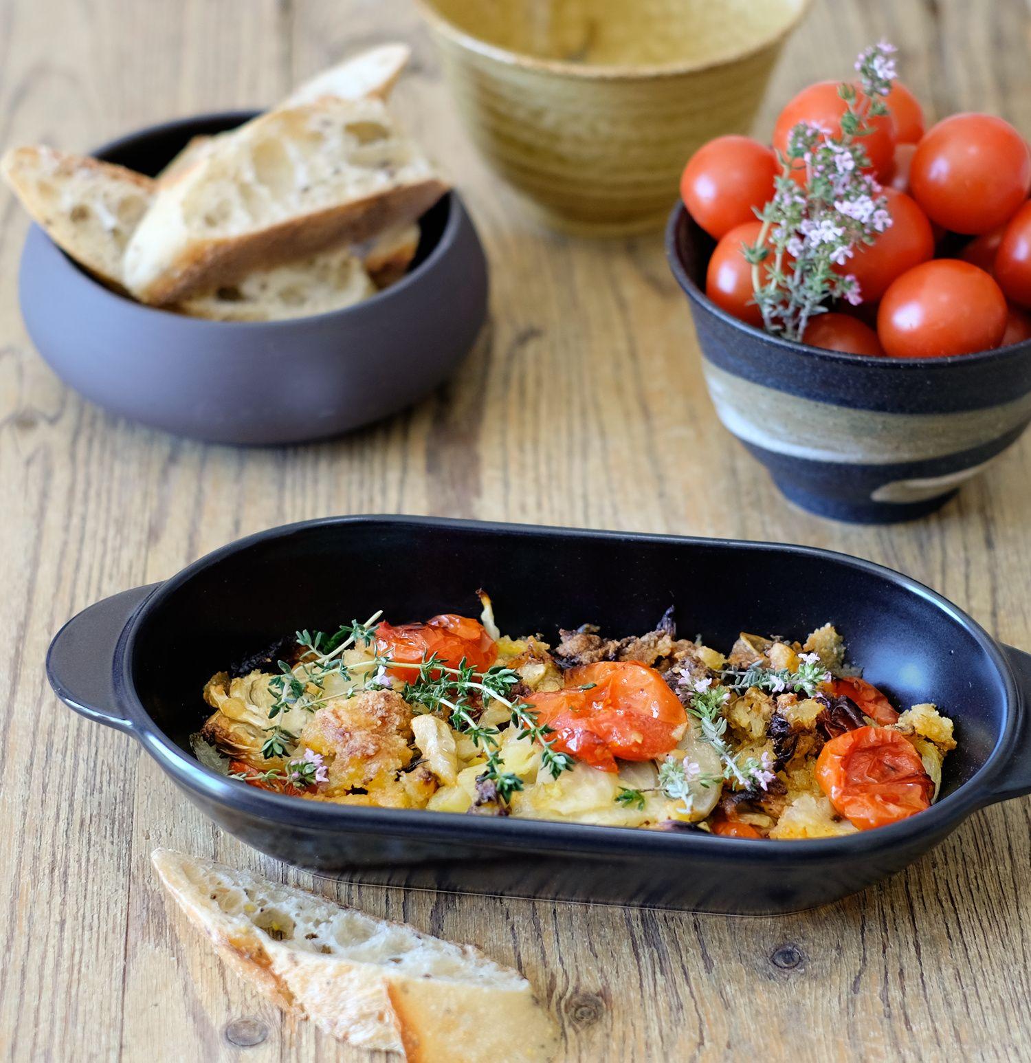 Ottolenghi : gratin de fenouils façon crumble aux tomates cerises
