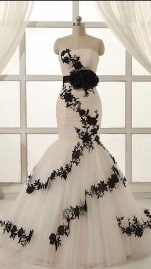 Prom Dress Plus Size Wedding Dress Dreaming White And Black