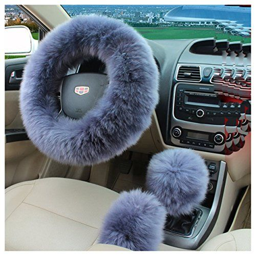 3Pcs Warm Plush Steering Wheel Cover Winter Furry Fluffy Soft Plush Car Wheel FI
