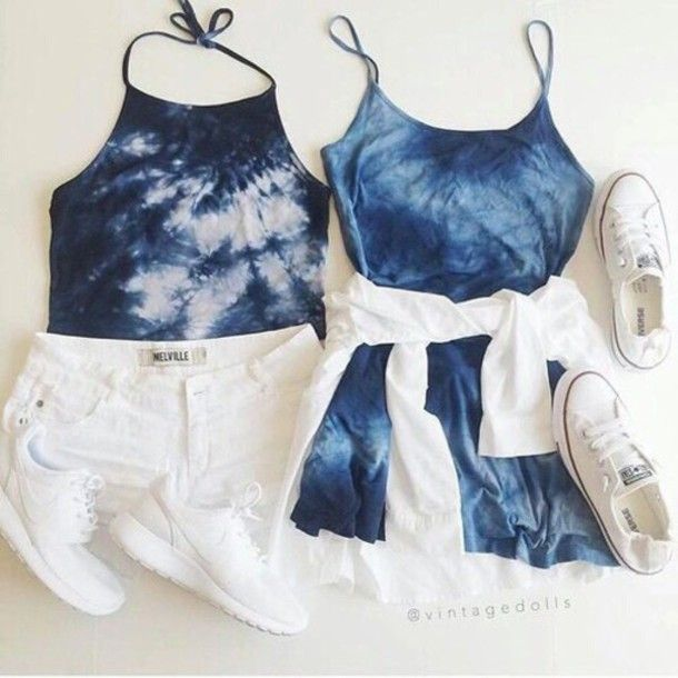 Dress Blue Tie Dye Summer Summer Outfits Cute Tumblr