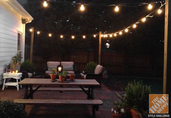 a classic, brick patio makeover by bryn of bryn alexandra | wooden ... - Patio String Light Ideas
