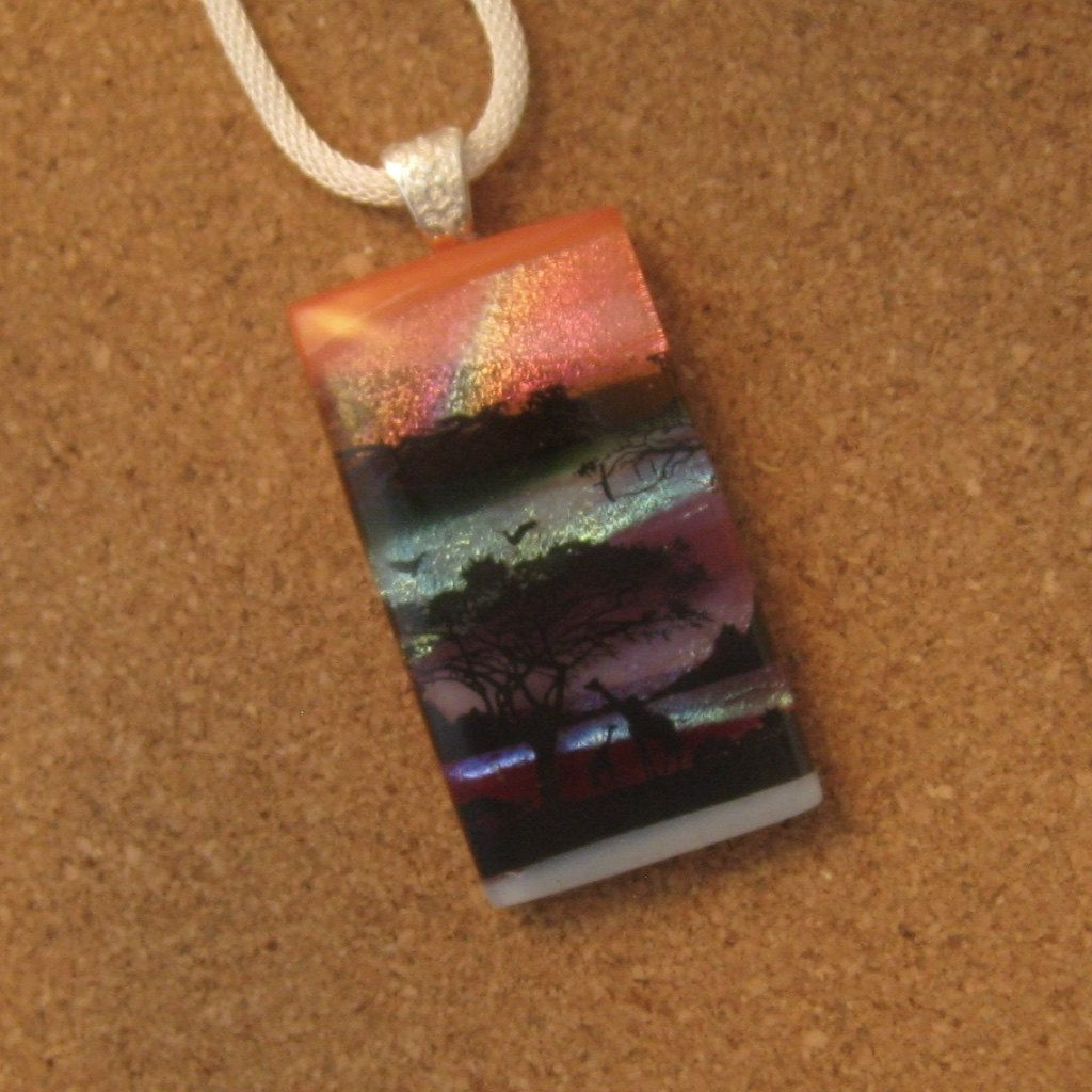 fused glass blue stone and creations fired effect pendant brown products