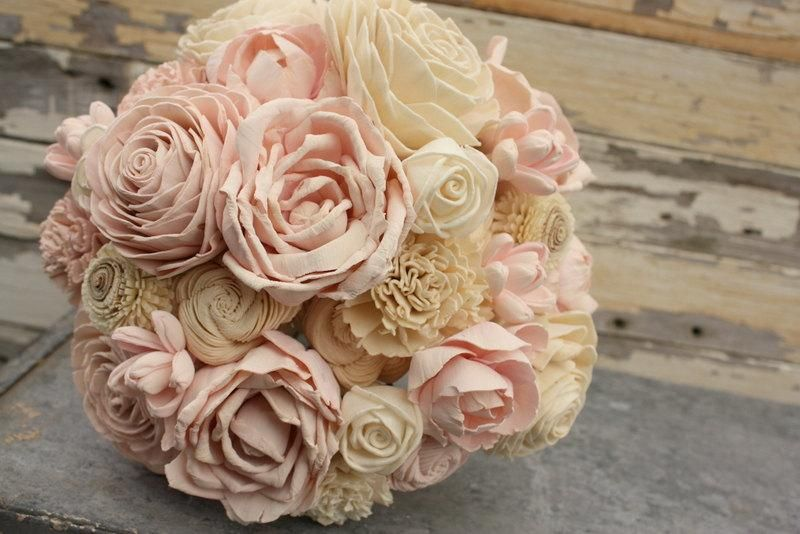 Blush pink wedding bouquet, sola flower bouquet, pale pink sola wood ...