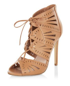 dbb02c7c84b Tan Laser Cut Out Ghillie Heels | New Look | Girls With Balls ...