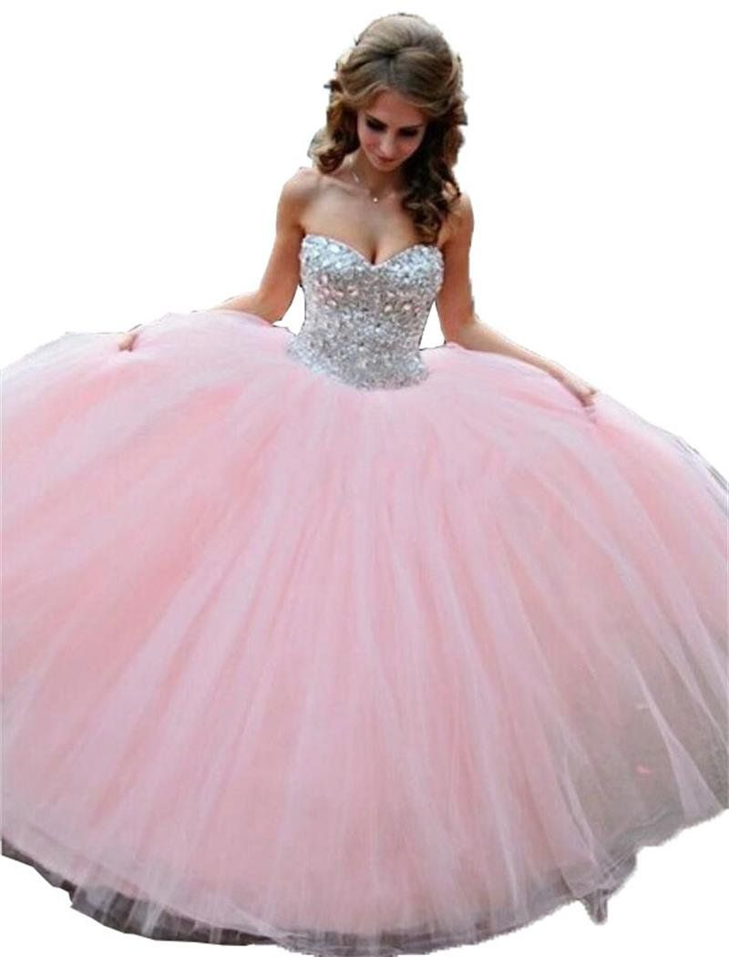 Enjoybuys pink sweetheart ball gown prom dresses sweet