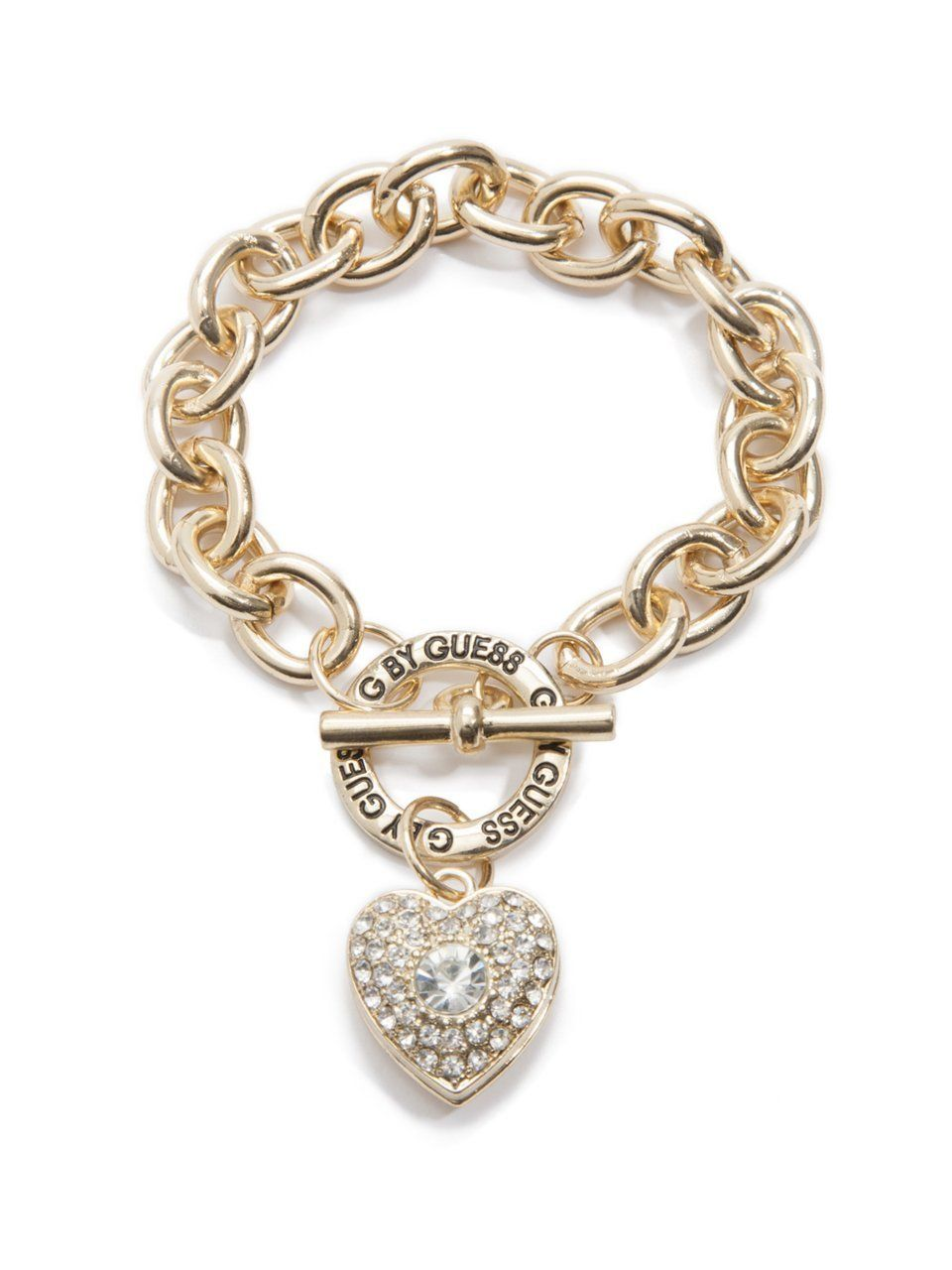 G By Guess Women S Bracelet With Rhinestone Heart Toggle